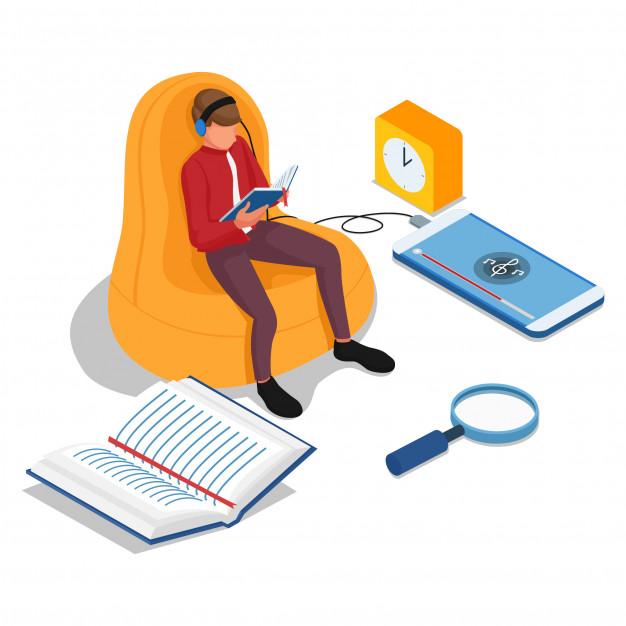 men reading books listening music cell phones elearning illustration concept vector 275024 29
